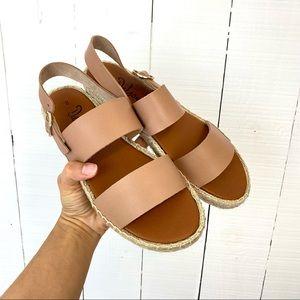 NWOT Dalton Espadrilles Sandal two straps leather